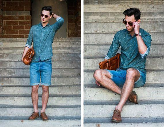 O Look Certo: Bermuda Jeans Com Camisa de Poá