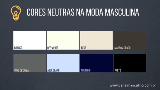 Cores neutras - moda masculina